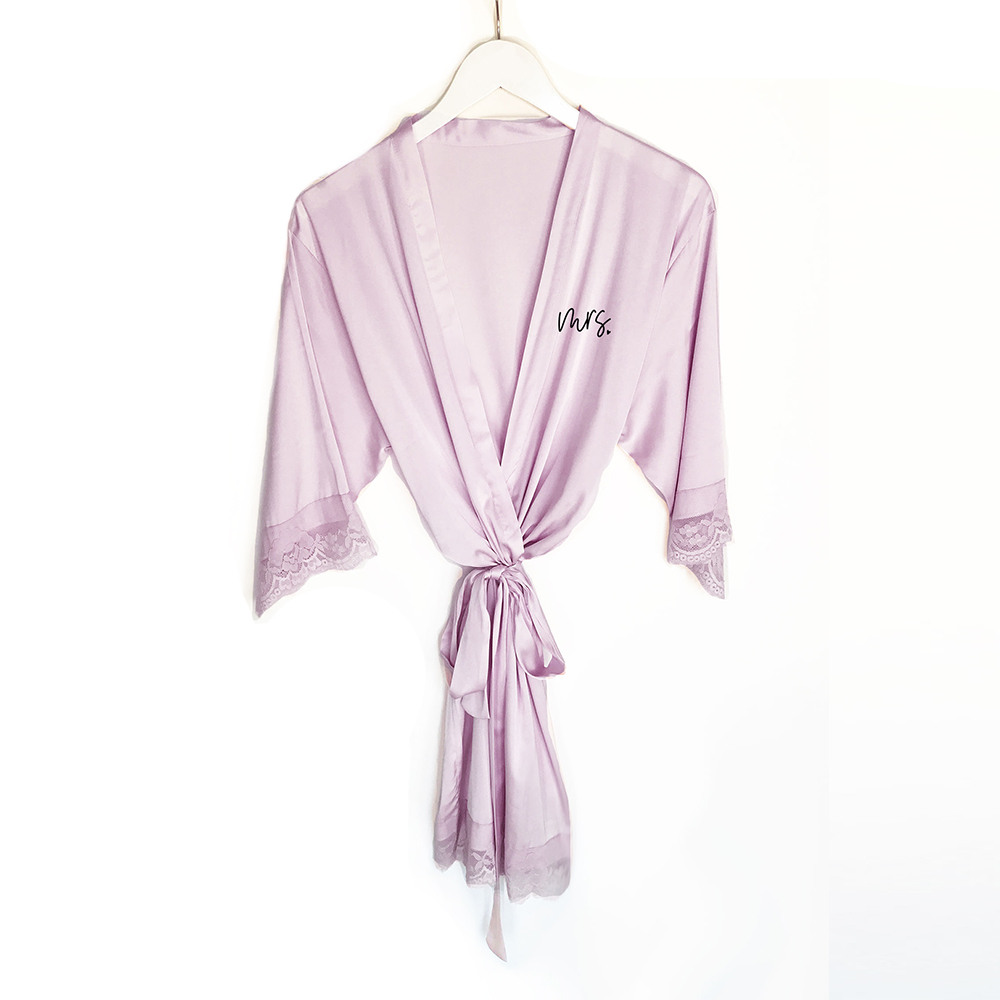 Mrs Satin Lace Robes lilac