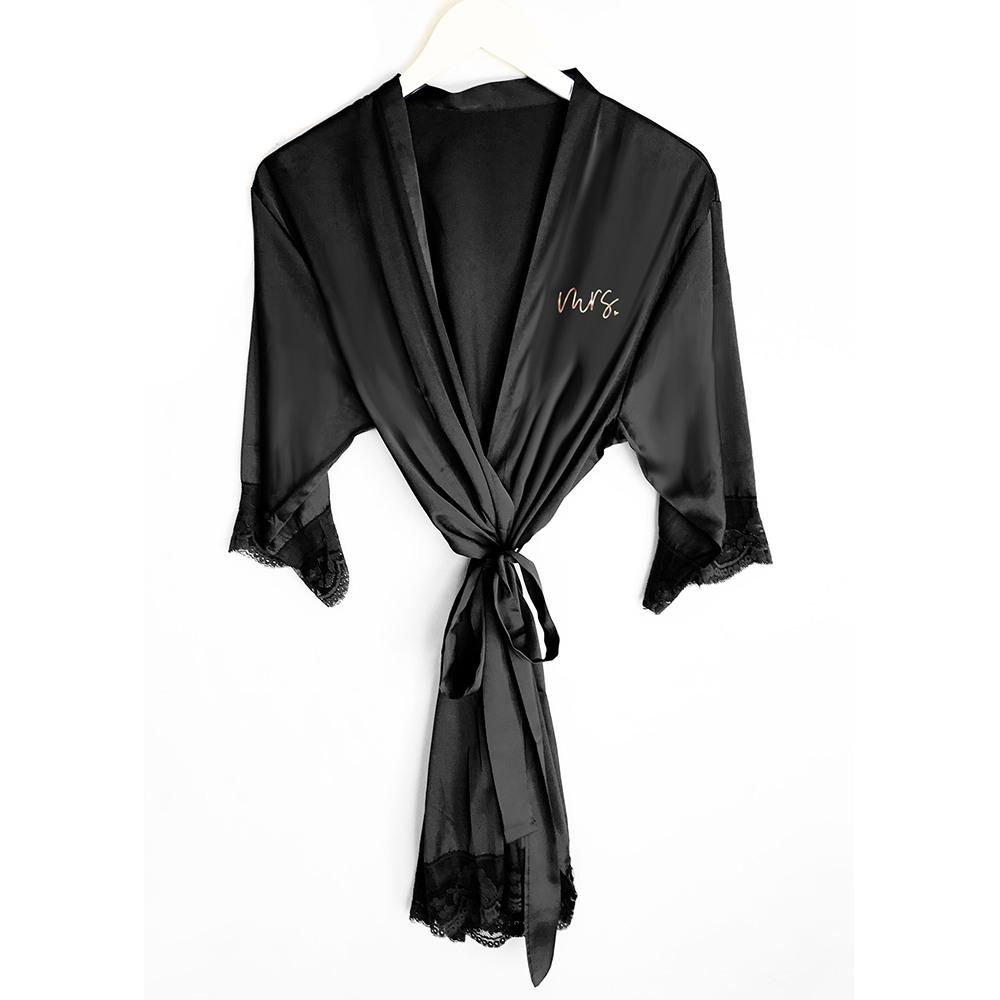 Mrs Satin Lace Robes black
