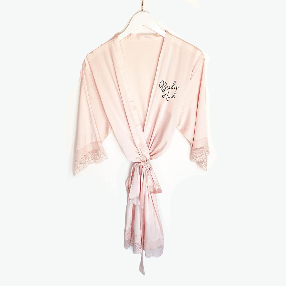 Bridal Satin Lace Robes pink