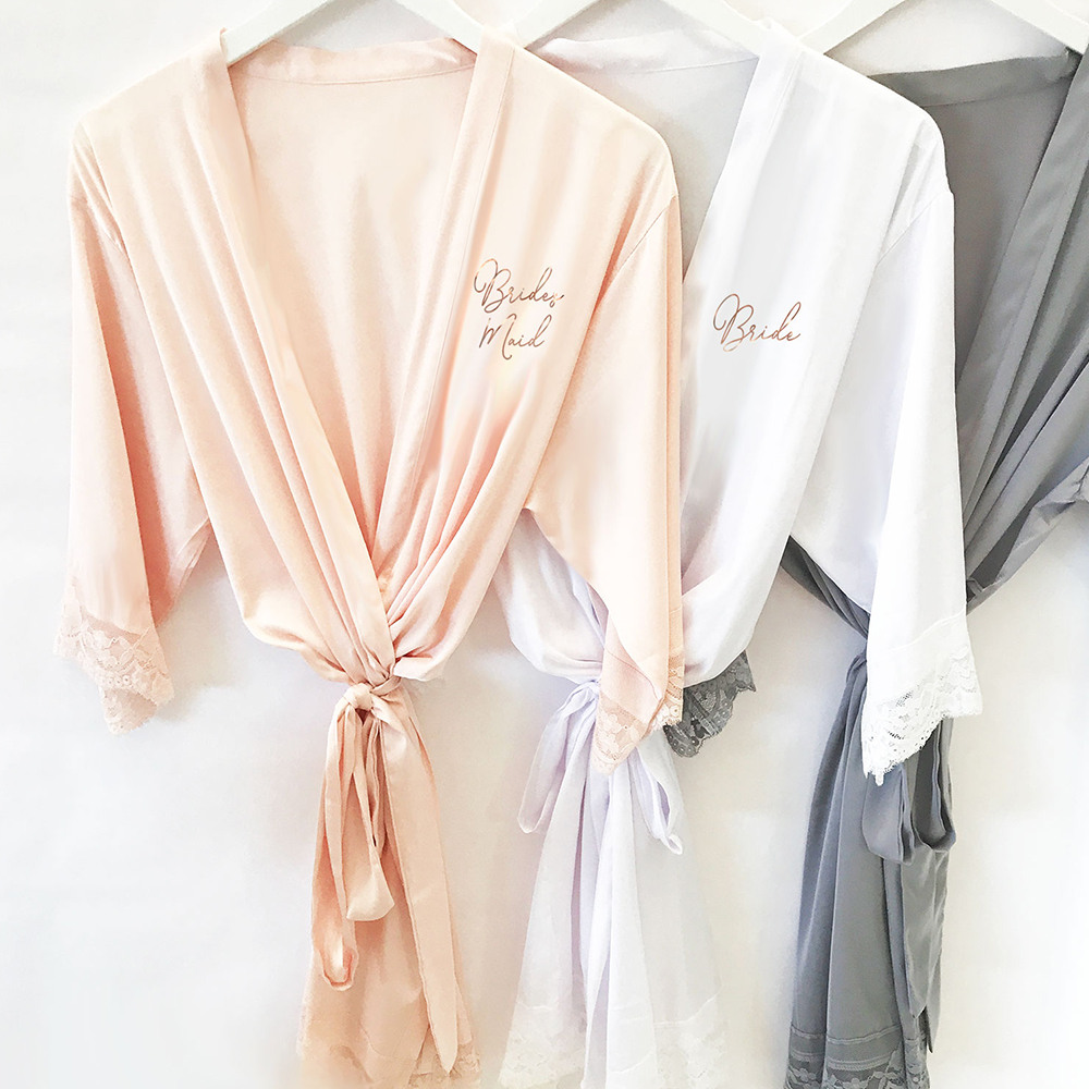 Bridal Satin Lace Robes gold text