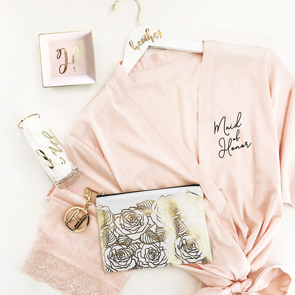 Bridal Satin Lace Robes pink with black tect