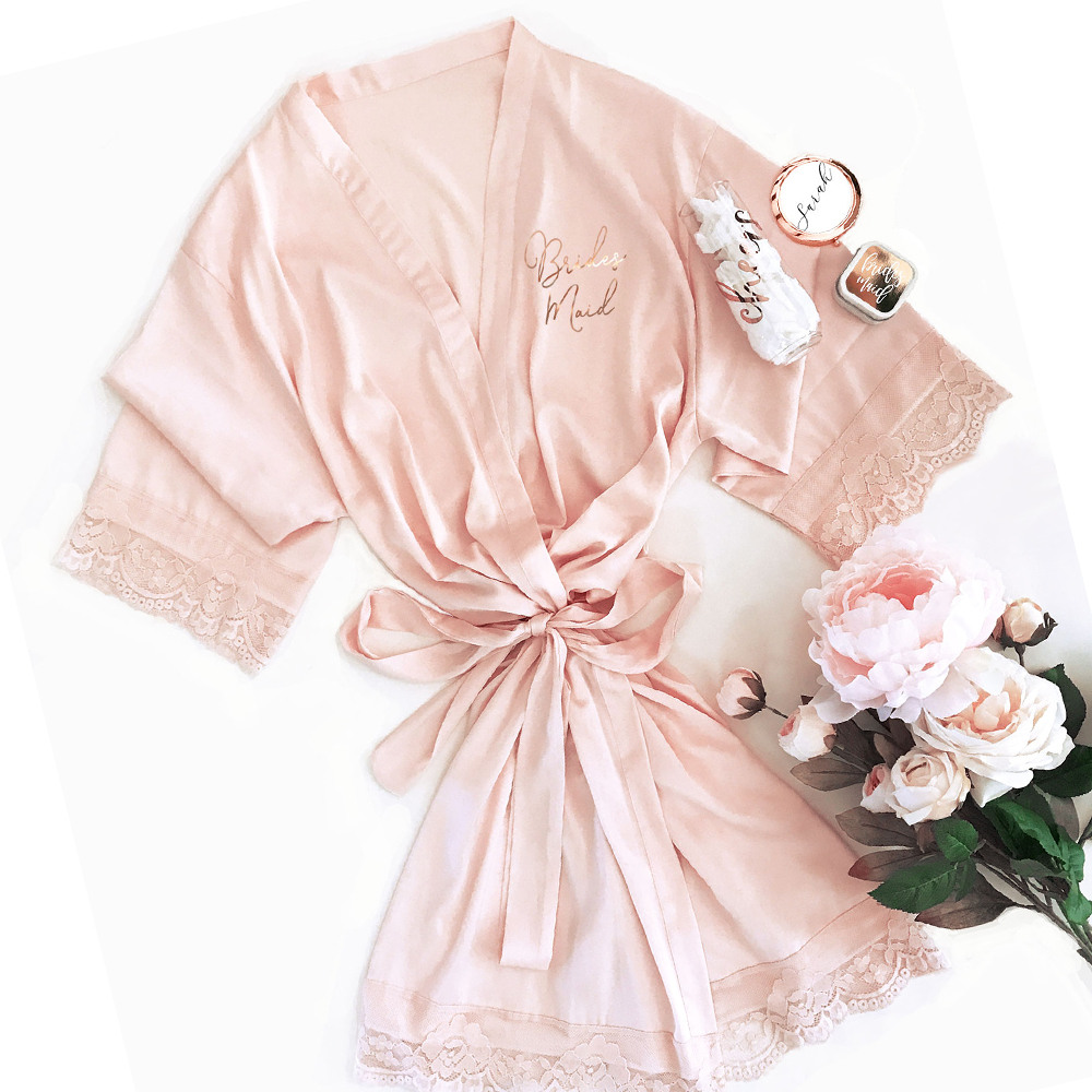 Bridal Satin Lace Robes pink with gold text