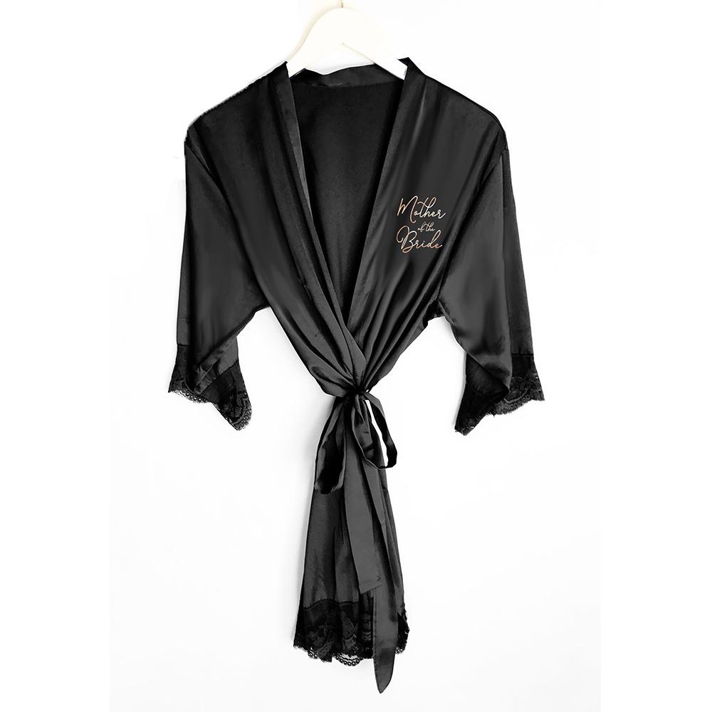 Bridal Satin Lace Robes black