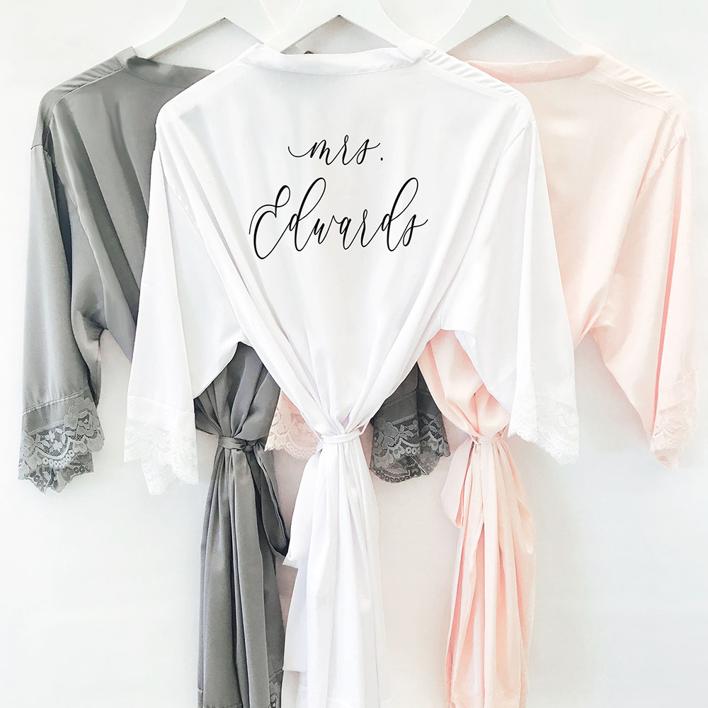 Personalized Satin Lace Robes 11383