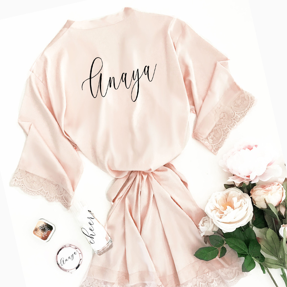Personalized Satin Lace Robes Pink