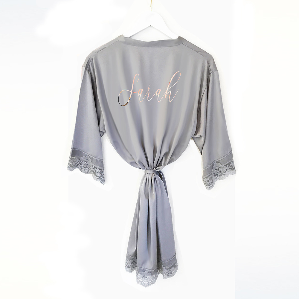 Personalized Satin Lace Robes Grey