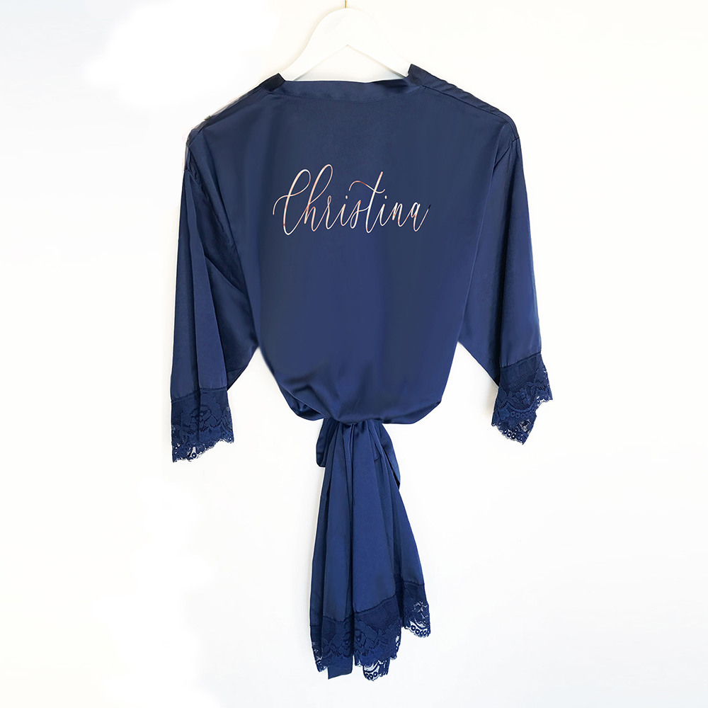 Personalized Satin Lace Robes Navy
