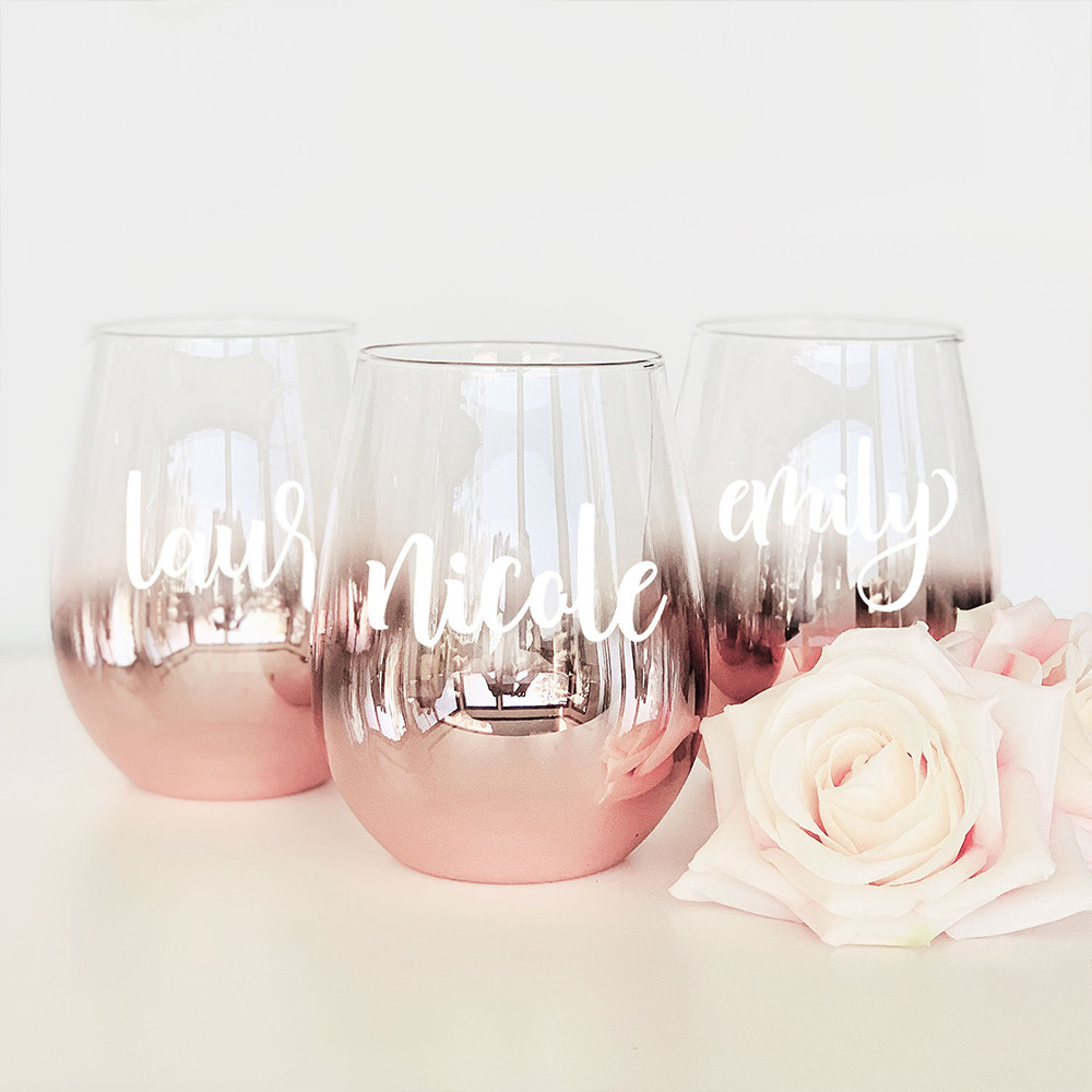 Personalized Rose Gold Stemless Glass 11387