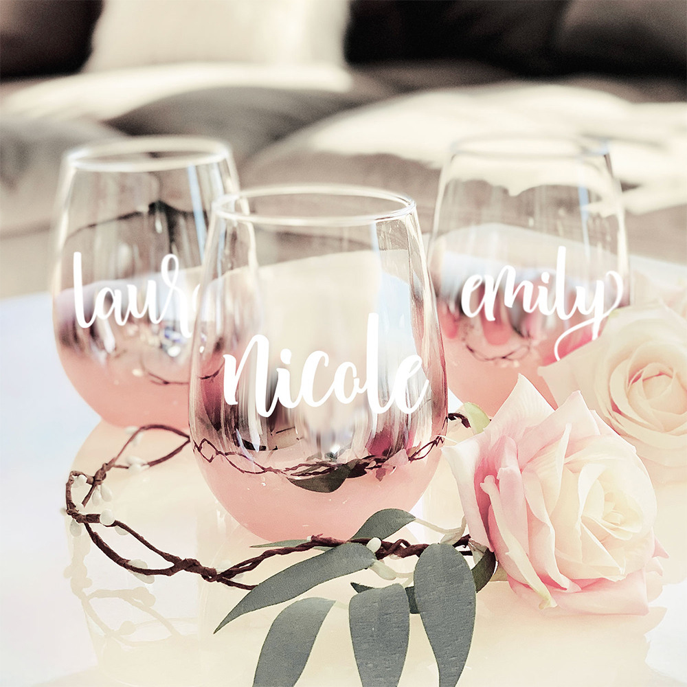 Personalized Rose Gold Stemless Glassware