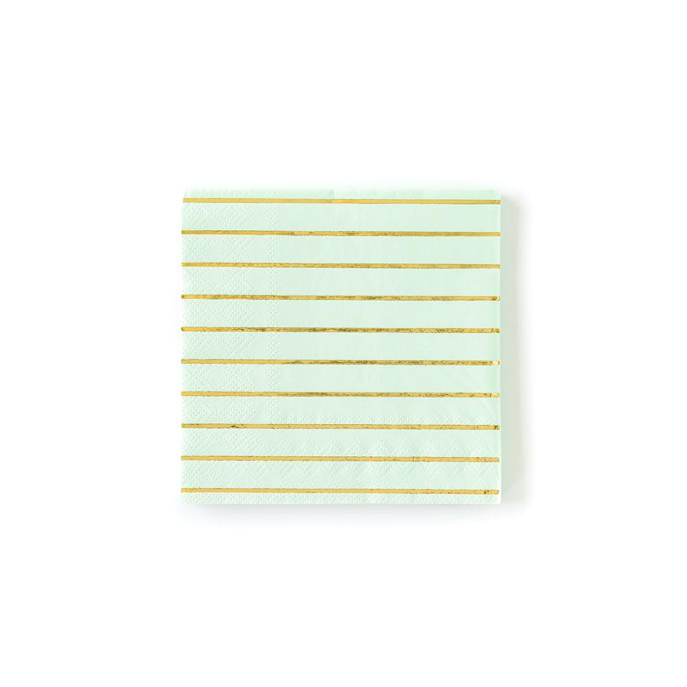 Pastel Stripe Cocktail Napkin mint