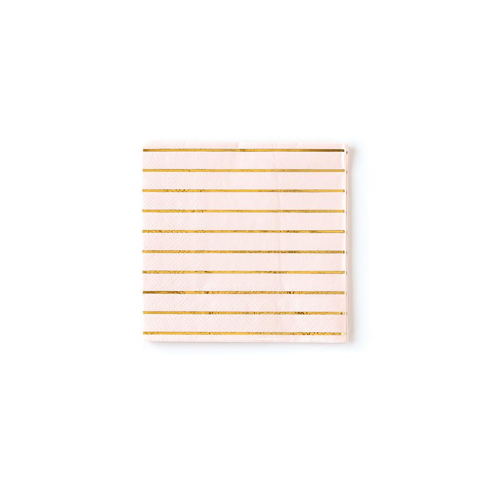 Pastel Stripe Cocktail Napkin pink