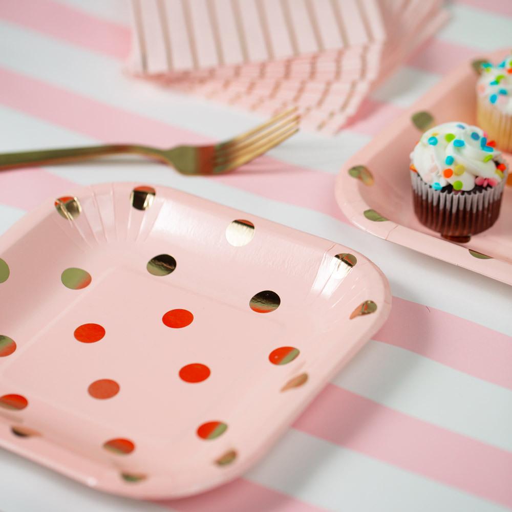 Pastel Polka Dot Cake Plates pink