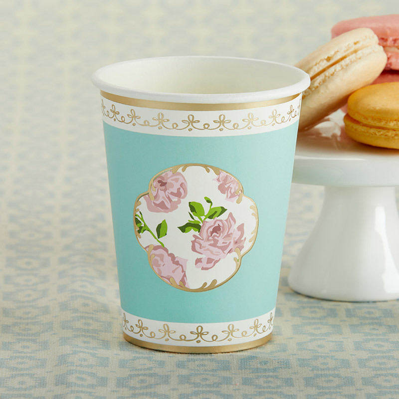 Tea Time 8 oz. Paper Cups - Blue