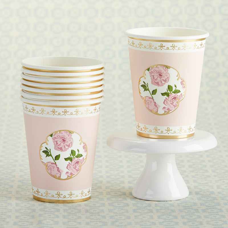 Tea Time 8 oz. Paper Cups - Pink