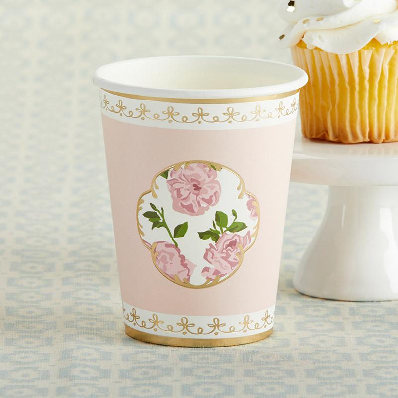 Tea Time 8 oz. Paper Cups - Pink