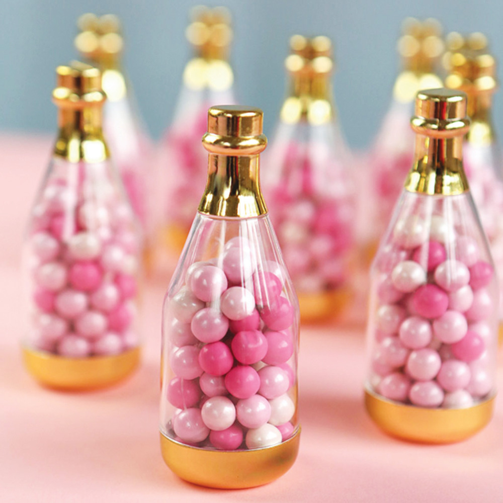 Champagne Bottle Favor Container gold