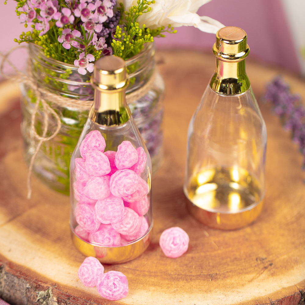 Champagne Bottle Favor Container Baby in Bloom