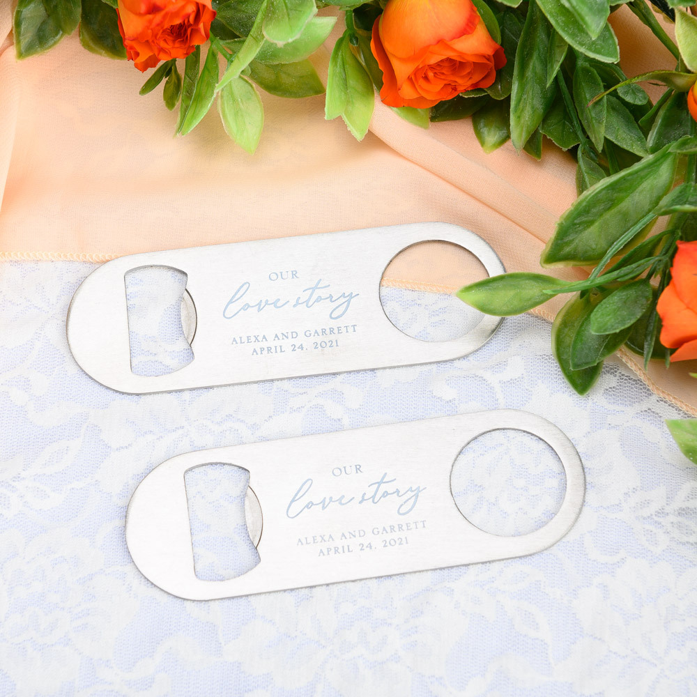 Printed Our Love Story Silver Oblong Bottle Opener