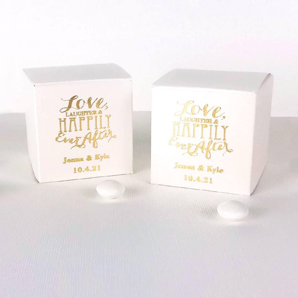 Personalized Love Laughter Square Favor Boxes