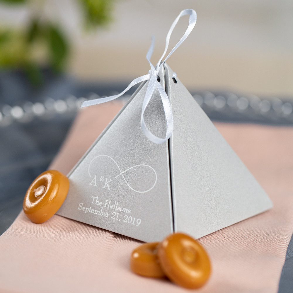 Personalized Eternal Love Pyramid Favor Boxes