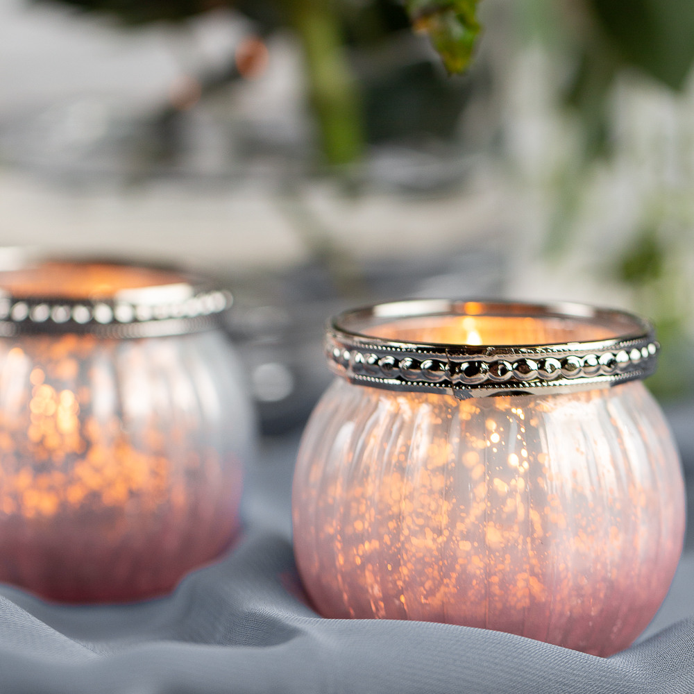 Pink Ombre Mercury Glass Votive Candle Holder 11683