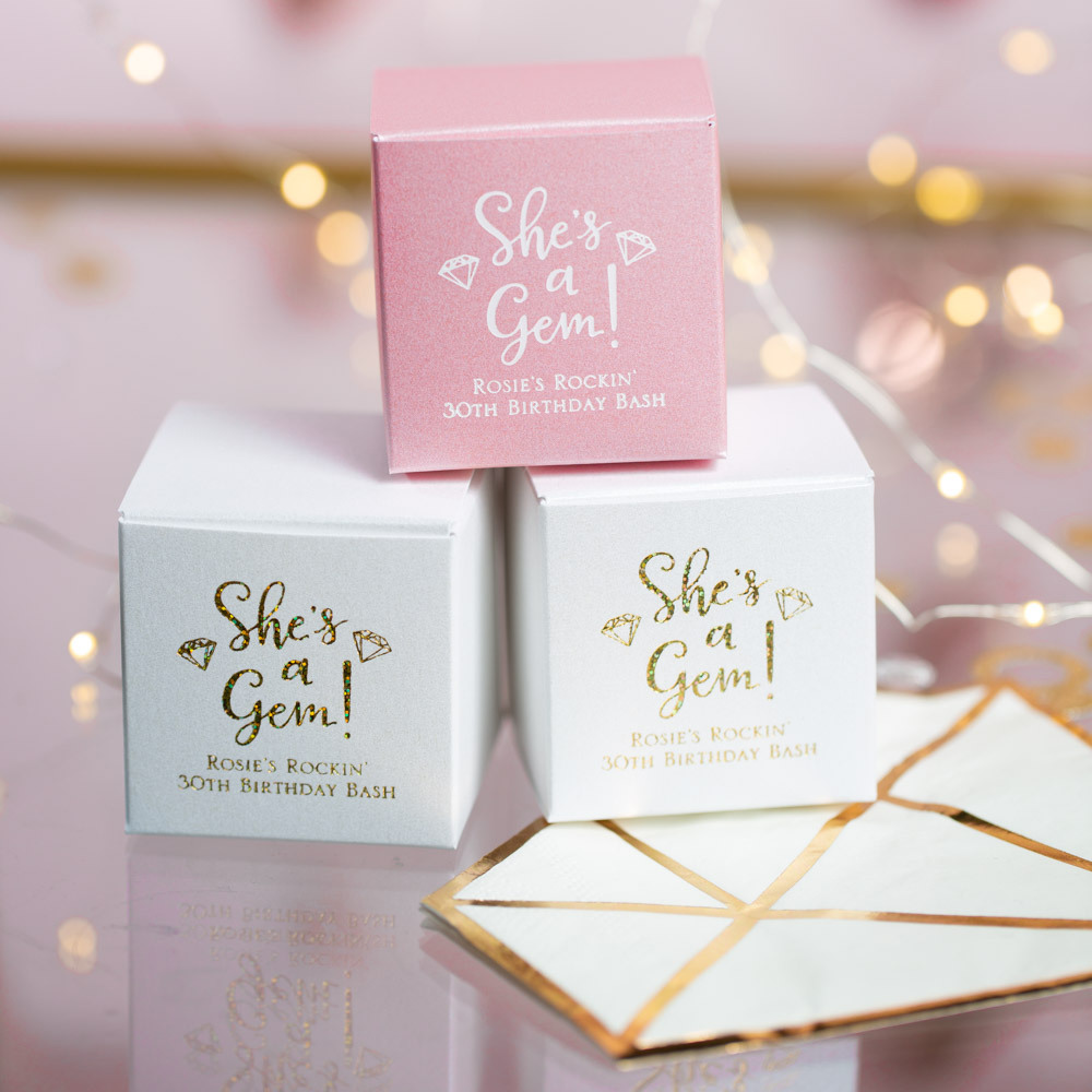 Personalized She's a Gem Square Birthday Favor Boxes