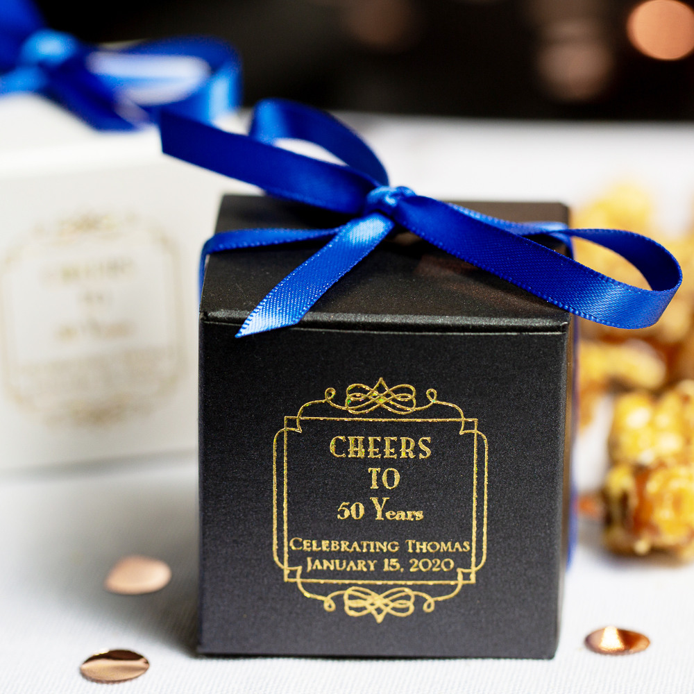 Personalized Vintage Cheers Square Birthday Favor Boxes