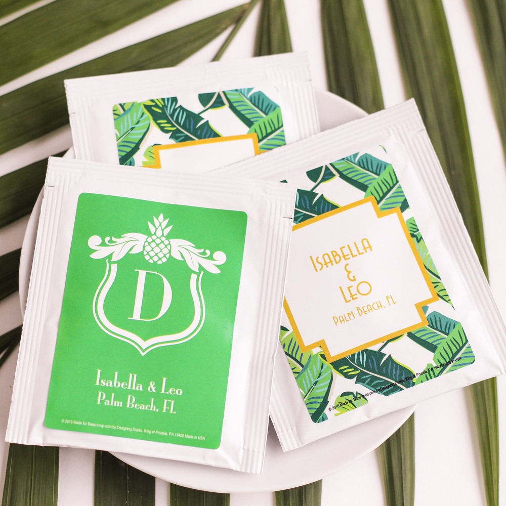 Personalized Tropical Wedding Tea Bag Favors