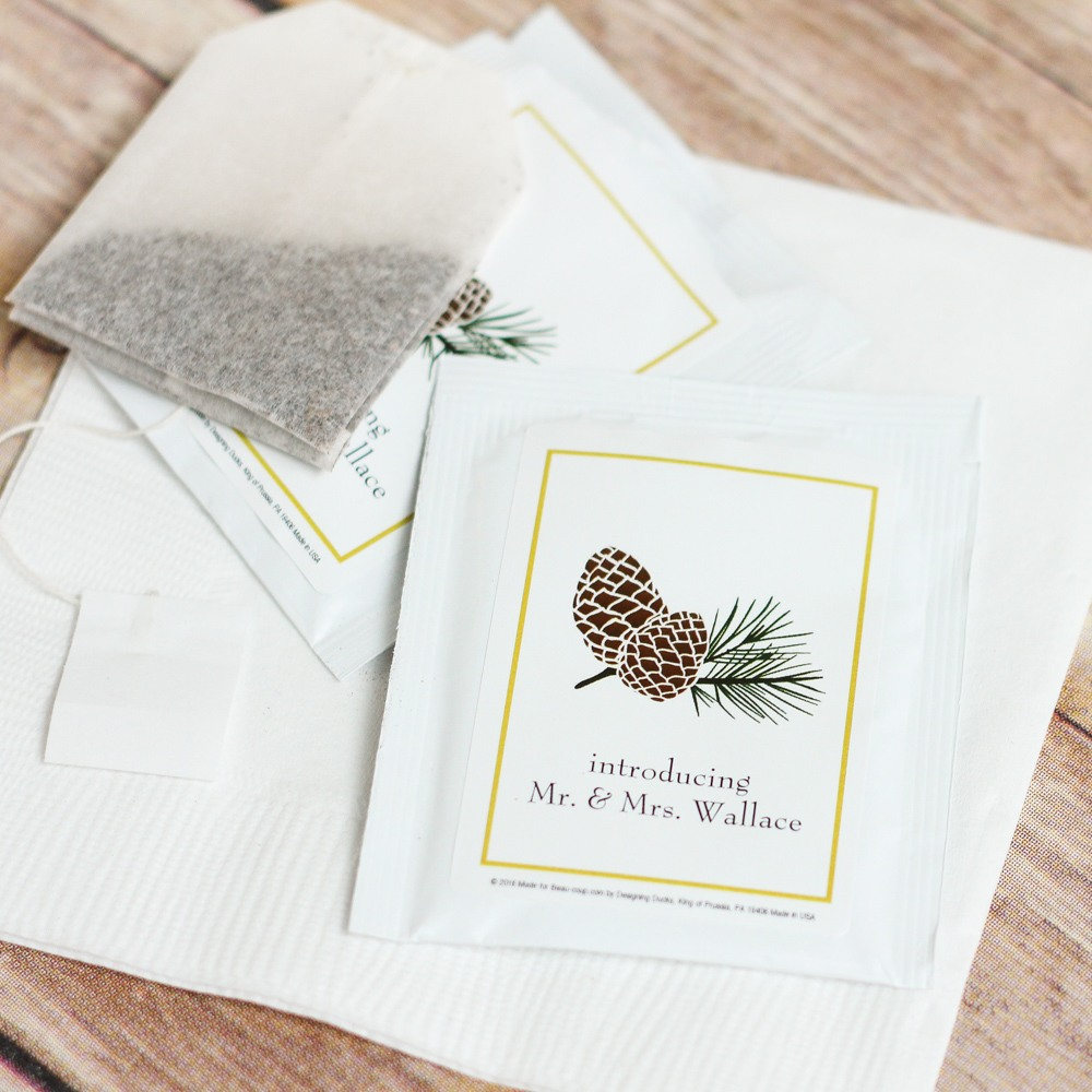 Personalized Pinecone Wedding Tea Bag Favors