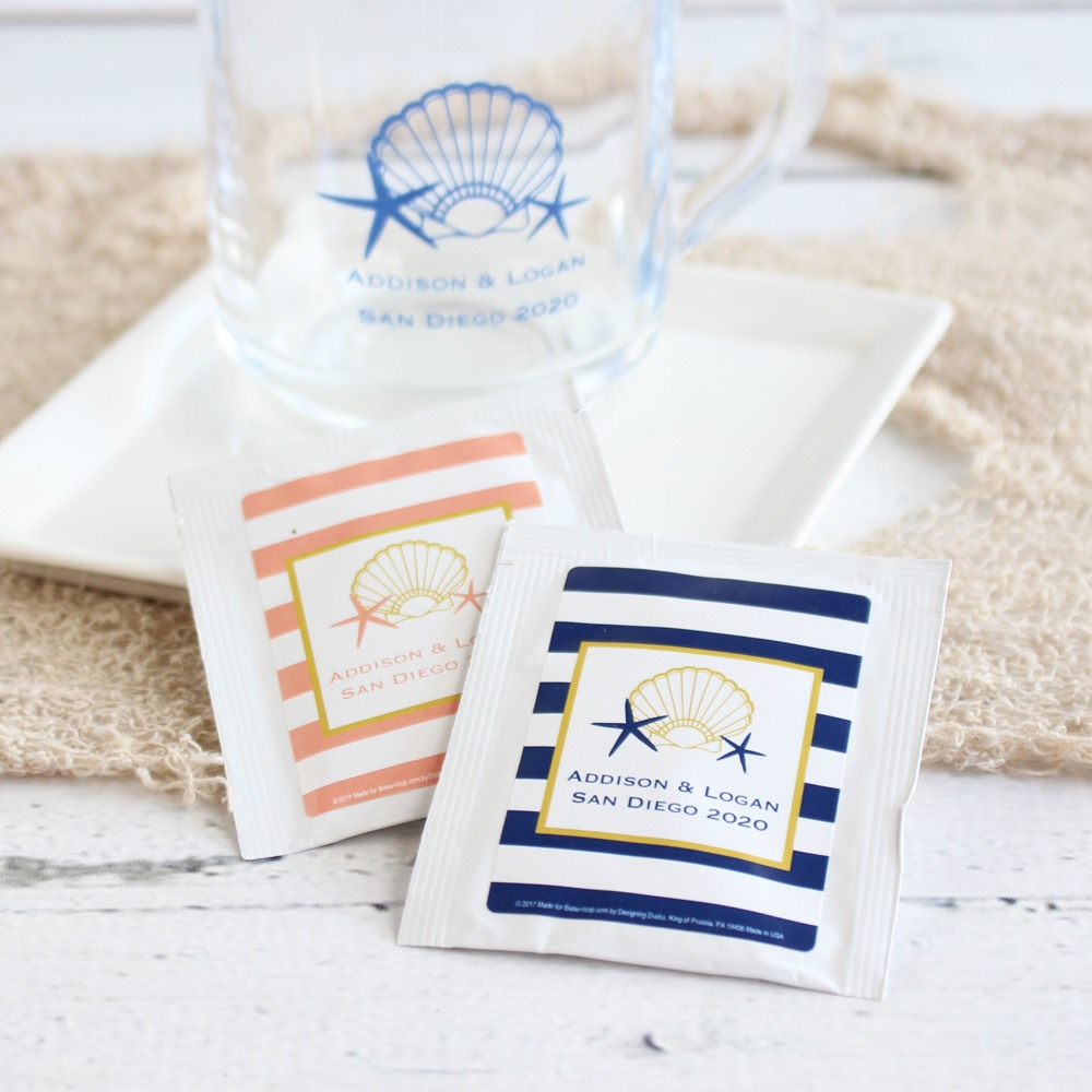 Personalized Seashell Wedding Tea Bag Favors