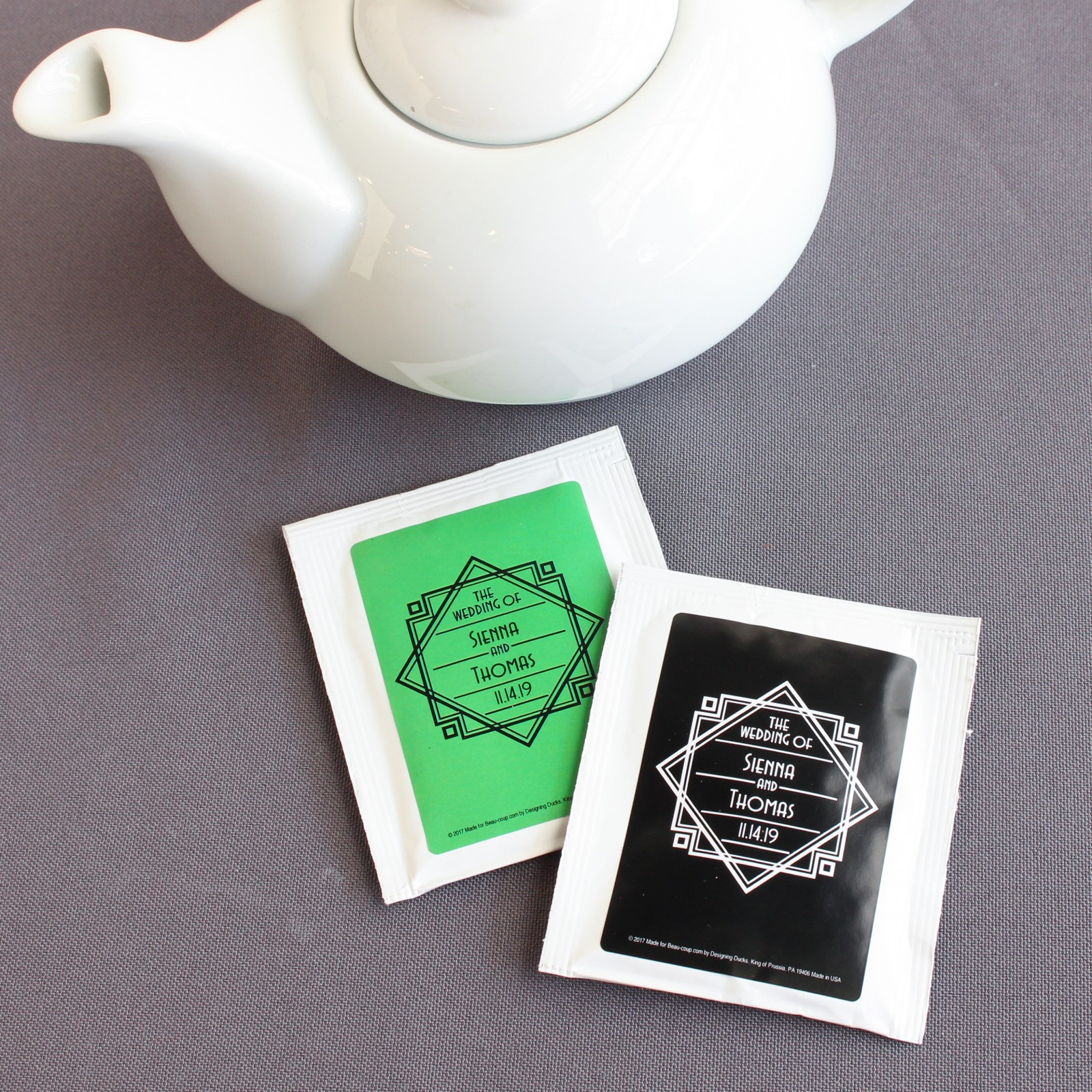 Personalized Modern Deco Wedding Tea Bag Favors