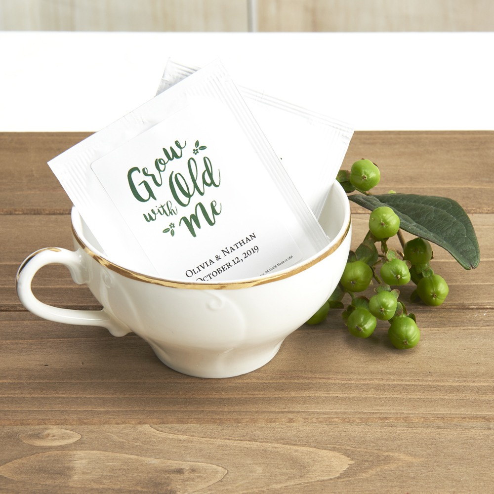 Personalized Wedding Grow Old With Me Tea Bag Favors