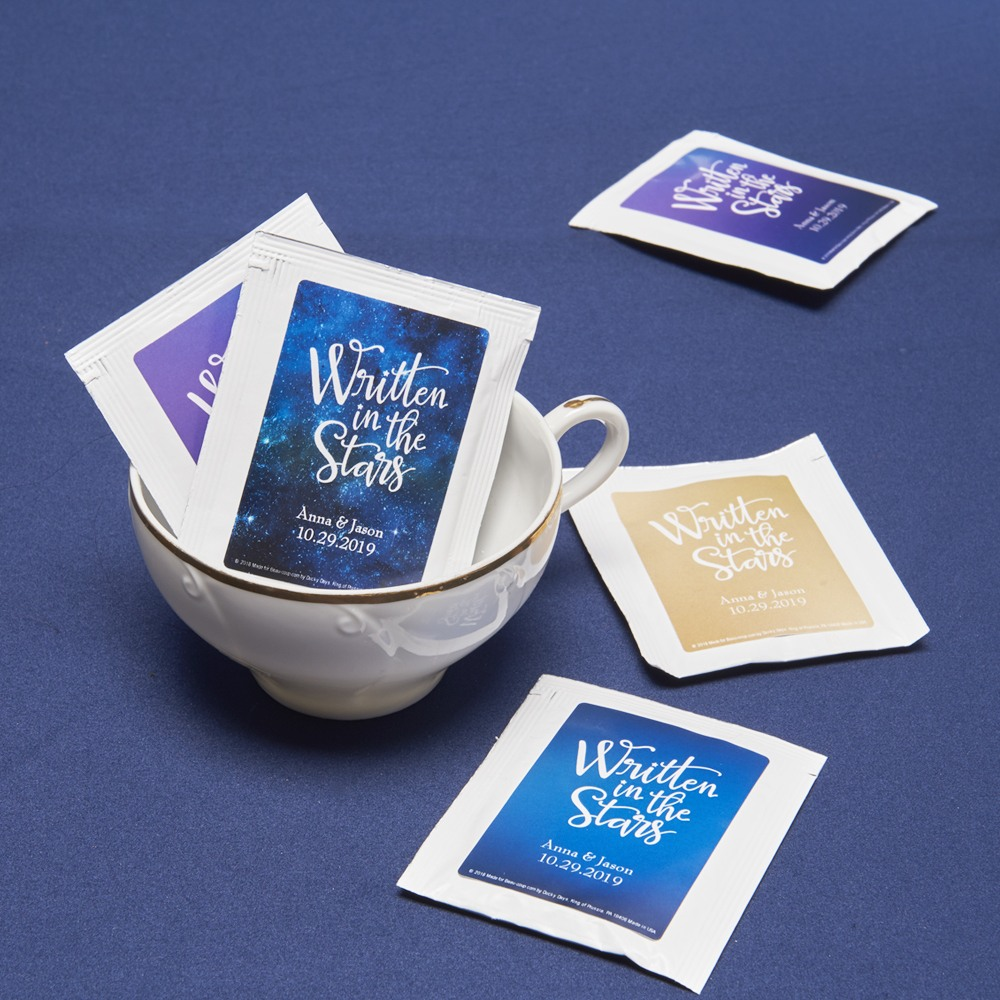 Personalized Wedding Written In The Stars Tea Bag Favors