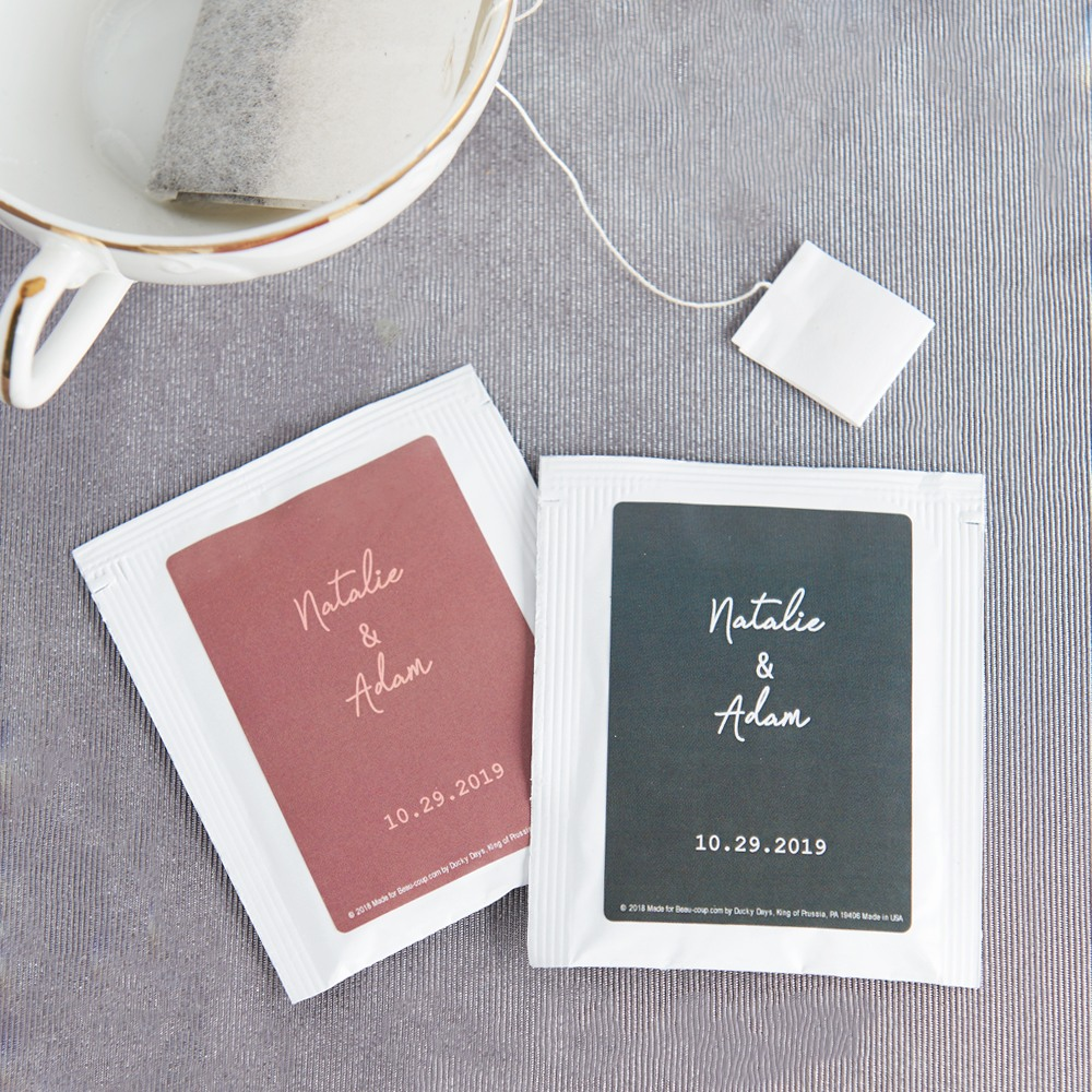 Personalized Wedding Industrial Script Tea Bag Favors