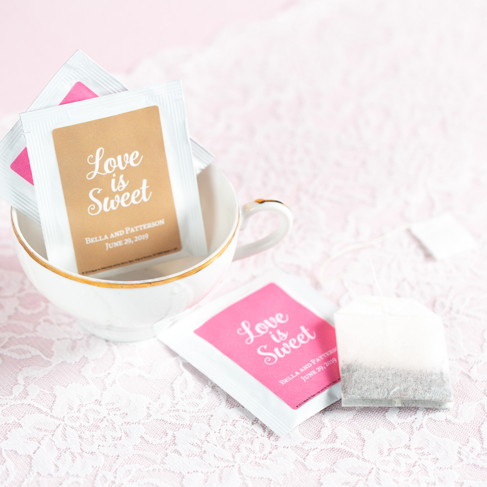 Personalized Love is Sweet Wedding Tea Bag Favors