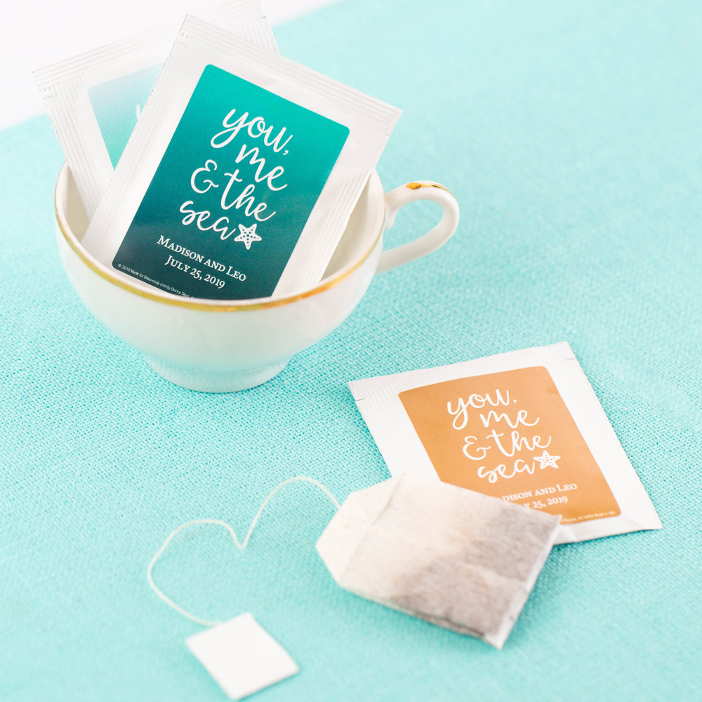 Personalized You me & the Sea Wedding Tea Bag Favors