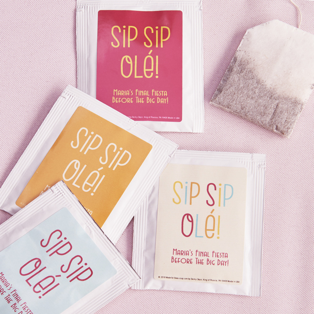 Personalized Sip Sip Ole Wedding Tea Bag Favors