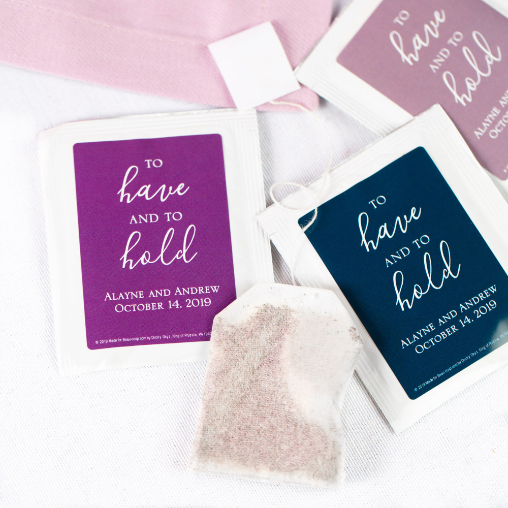 Personalized To Have & to Hold Wedding Tea Bag Favors