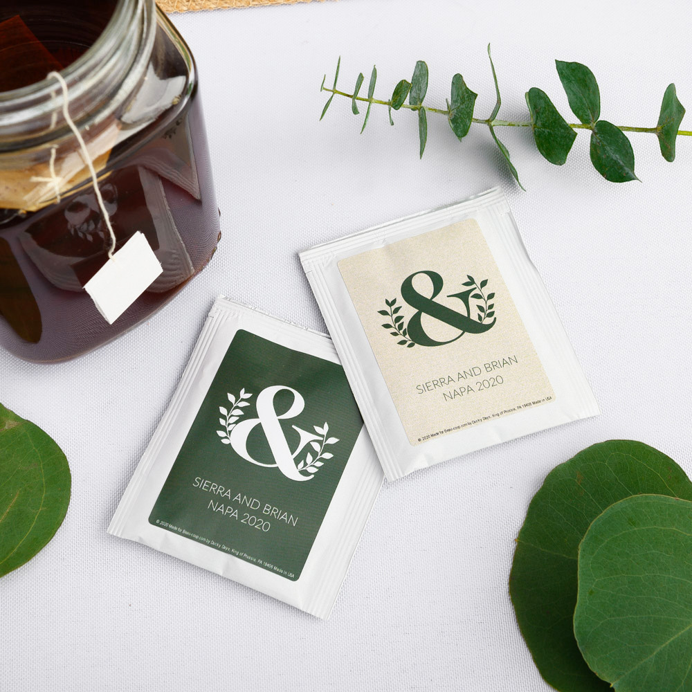 Personalized Eco Ampersand Wedding Tea Bag Favors