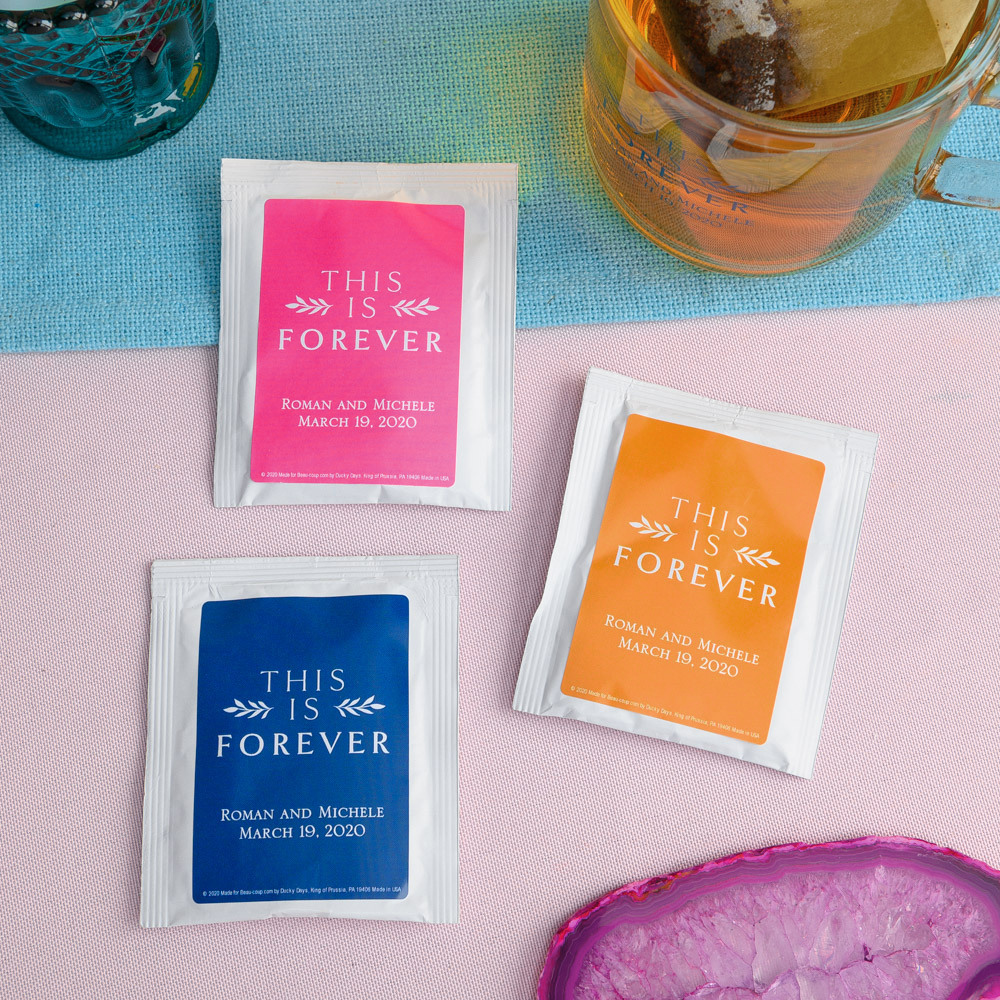 Personalized This is Forever Wedding Tea Bag Favors