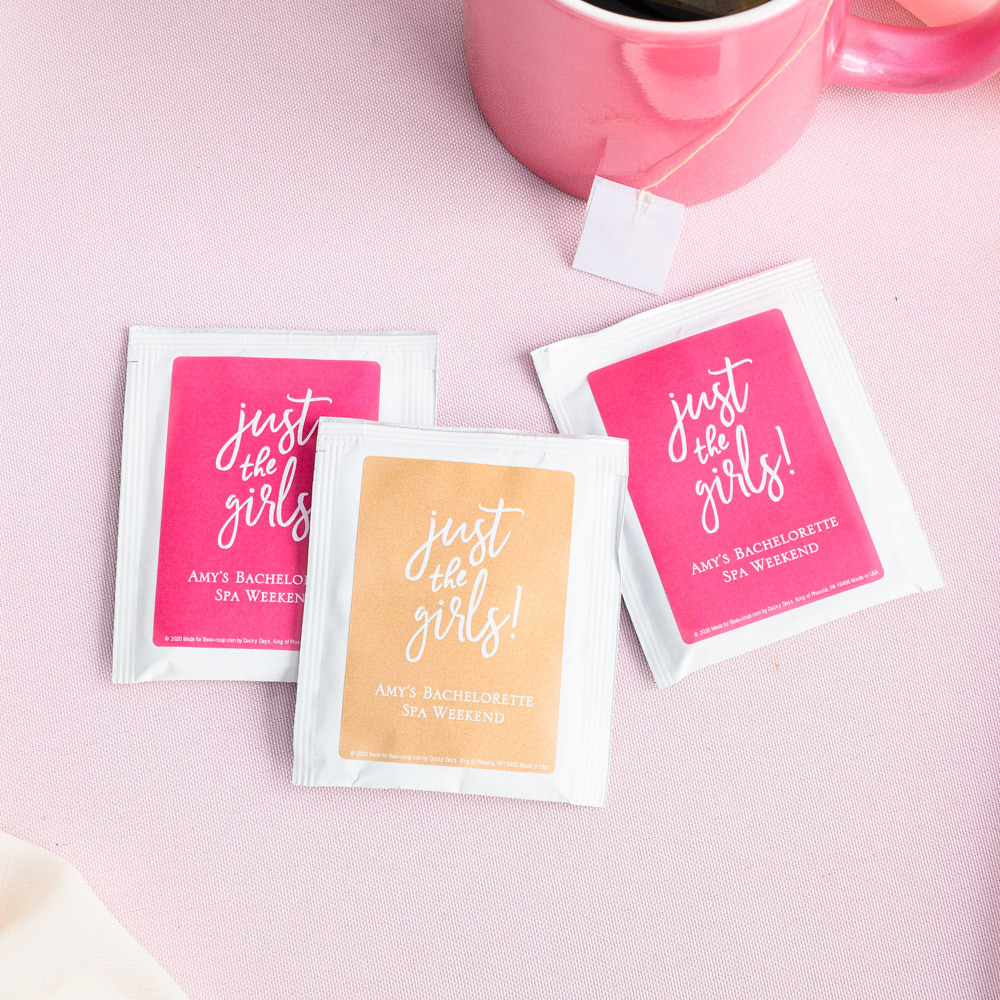 Personalized Just the Girls Wedding Tea Bag Favors