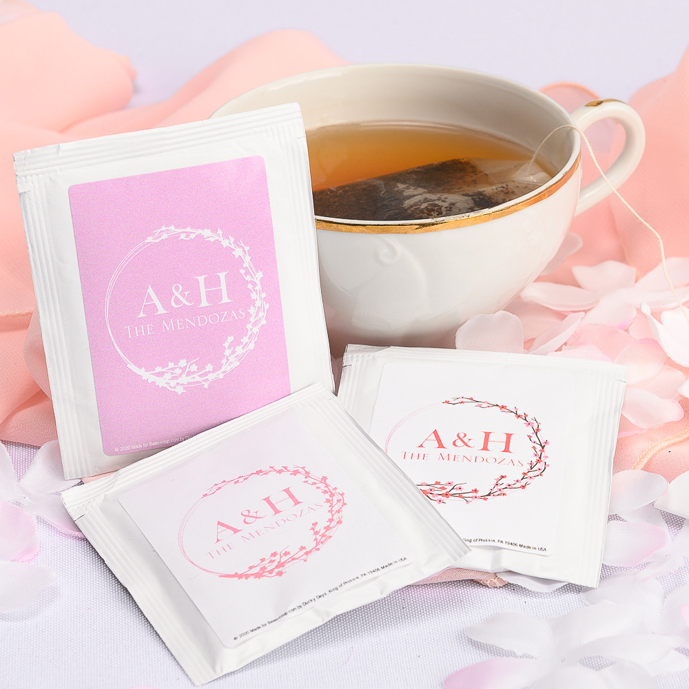 Personalized Cherry Blossom Wedding Tea Bag Favors