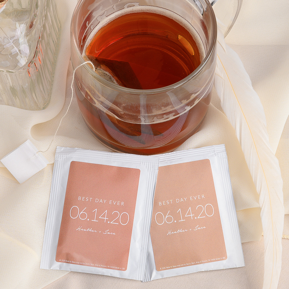 Personalized Wedding Date Tea Bag Favors