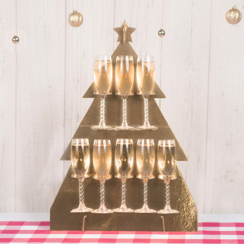 Christmas Tree Prosecco Bubbly Drinks Wall Holder 11721
