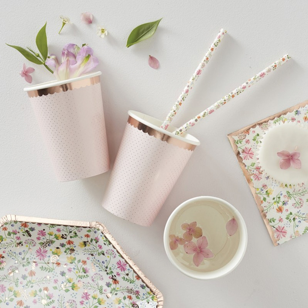 Rose Gold Foil Polka Dot Paper Cups 11765