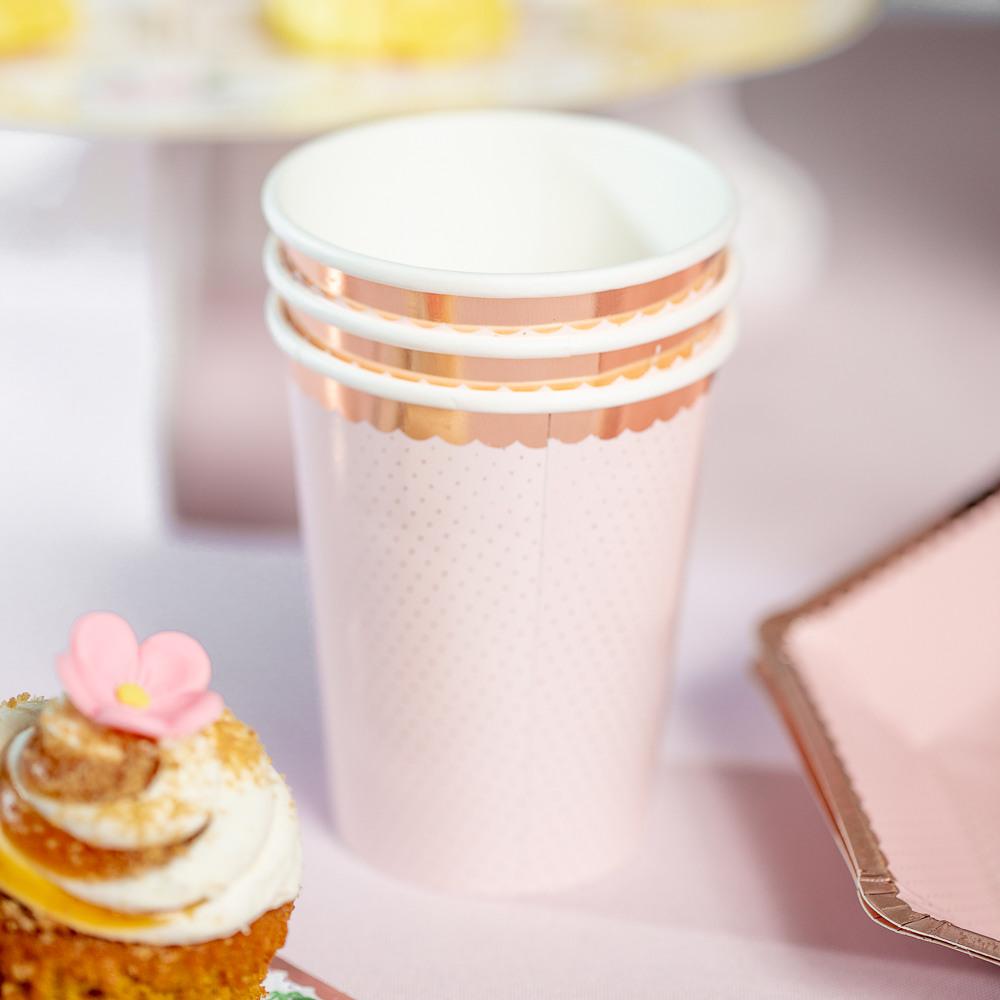 Rose Gold Foil Polka Dot Paper Cups