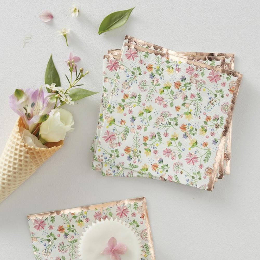 Rose Gold Foil Floral Paper Napkins 11766
