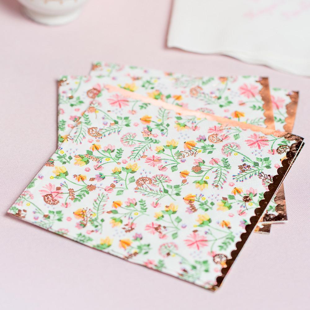 Rose Gold Foil Floral Paper Napkins Lifesty;e