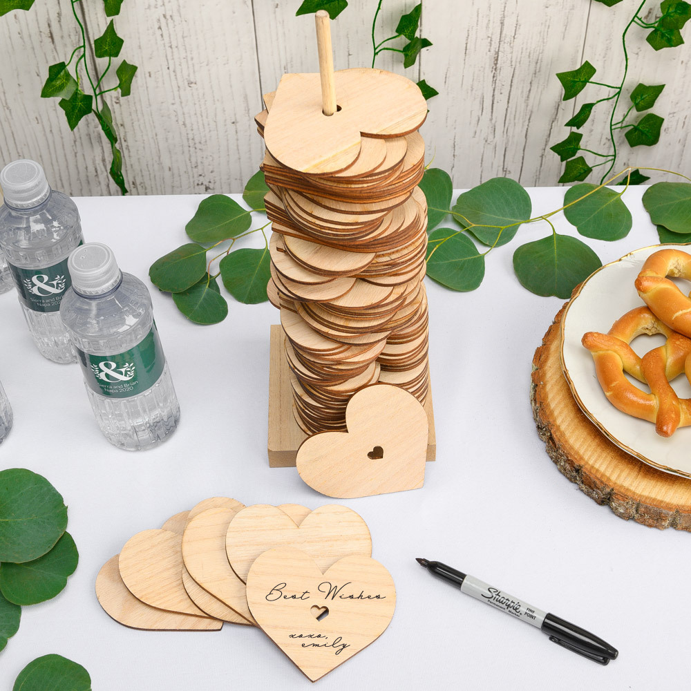 Wooden Stacking Heart Alternative Guestbook 11926