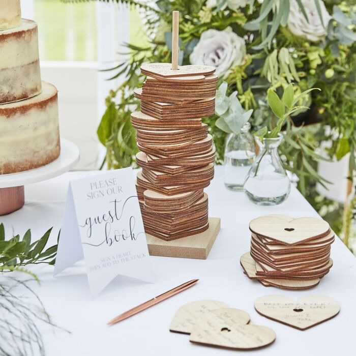 Wooden Stacking Heart Alternative Guestbook